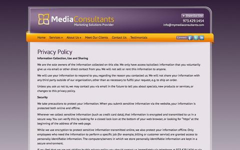 Screenshot of Privacy Page mymediaconsultants.com - Privacy Policy - Media Consultants | Media Consultants - captured Oct. 27, 2014