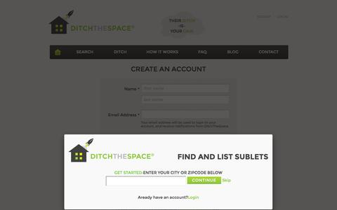 Screenshot of Signup Page ditchthespace.com - Create an Account | DitchTheSpace - captured Sept. 30, 2014