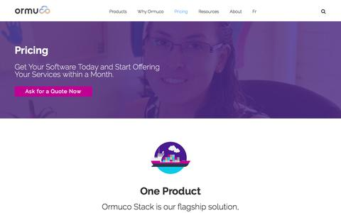 Screenshot of Pricing Page ormuco.com - Ormuco Pricing - Get Your Software Today & Start Providing Cloud Services within a Month - captured July 23, 2018