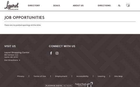 Screenshot of Jobs Page laurelshoppingcenter.com - Laurel Shopping Center ::: Laurel ::: MD - captured Oct. 27, 2018