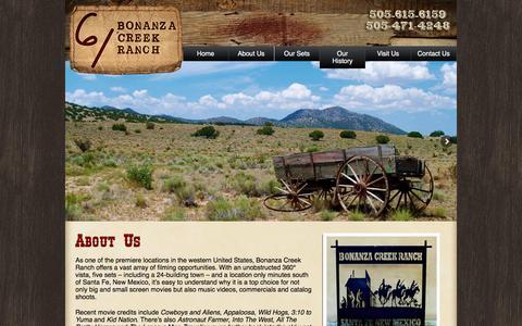 Screenshot of About Page bonanzacreekranch.com - About Us: Bonanza Creek Movie Ranch - captured May 31, 2016