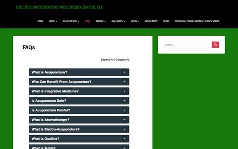 Screenshot of FAQ Page holisticintegrativewellness.com - FAQs | HOLISTIC INTEGRATIVE WELLNESS CENTRE, LLC - captured Oct. 8, 2014
