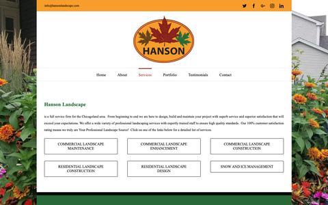 Screenshot of Services Page hansonlandscape.com - Hanson Landscape - Professional Landscaping Services - captured Dec. 7, 2018
