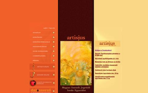 Screenshot of Home Page artisjus.hu - Artisjus - Magyar Szerzői Jogvédő Iroda Egyesület - captured Oct. 6, 2014