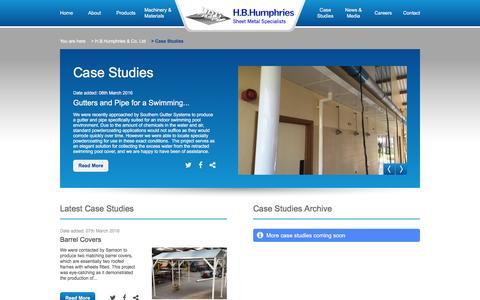 Screenshot of Case Studies Page hbhumphries.co.uk - Case Studies | H B Humphries - captured Oct. 4, 2016