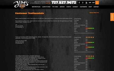 Screenshot of Testimonials Page jimshd.com - Testimonials | Jim's Harley-Davidson® | St. Petersburg Florida - captured Oct. 6, 2014