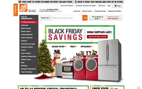 Screenshot of Home Page homedepot.com - Home Improvement Made Easy with New Lower Prices | Improve & Repair - captured Nov. 27, 2015