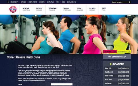 Screenshot of Contact Page genesishealthclubs.com - Contact Genesis Health Clubs - captured Sept. 29, 2014
