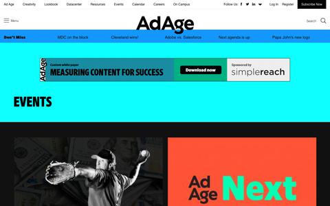 Screenshot of adage.com - Marketing & Media Industry Events - Ad Age - captured Sept. 24, 2018