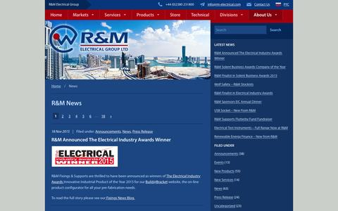 Screenshot of Press Page rm-electrical.com - R&M News | R&M Electrical Group - captured Feb. 4, 2016