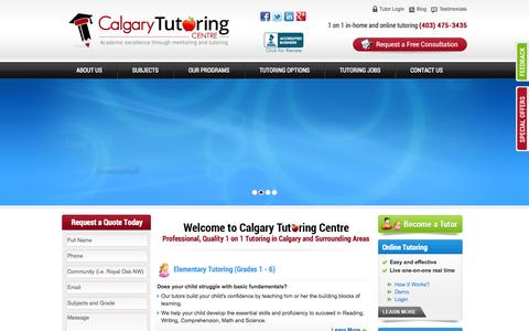 Screenshot of Home Page calgarytutoringcentre.com - Calgary Tutoring Centre - captured Sept. 27, 2014