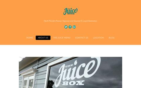 Screenshot of About Page thejuiceboxvapeshop.com - About Us - The Juice Box - captured Dec. 16, 2016