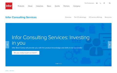 Screenshot of Services Page infor.com - Infor Consulting Services: global scale and local presence deliver value - captured Nov. 20, 2015