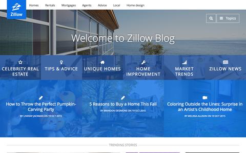 Screenshot of Blog zillow.com - Zillow Blog - Real Estate Market Stats, Celebrity Real Estate, and Zillow News - captured Oct. 19, 2015