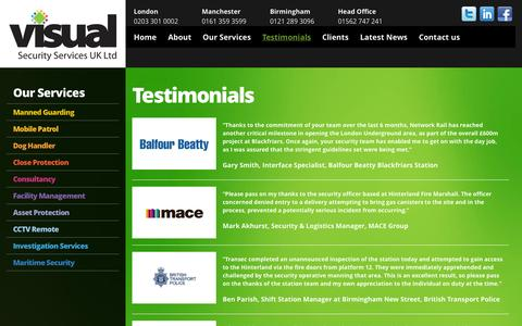 Screenshot of Testimonials Page visualsecurityltd.co.uk - Testimonials Archives - Visual Security : Visual Security - captured Oct. 3, 2014