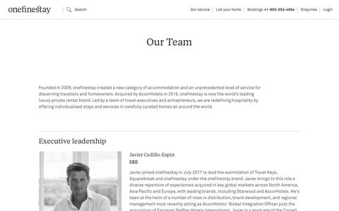 Screenshot of Team Page onefinestay.com - Our team – founders, executives and global leads | onefinestay - captured Feb. 24, 2018