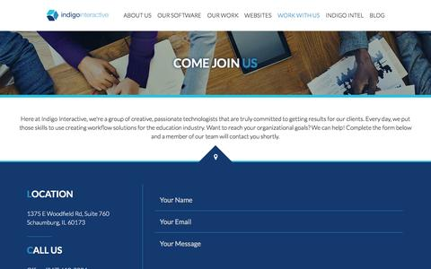 Screenshot of Contact Page indigointeractive.com - Accreditation Management System | Indigo Interactive - Work with Us - captured Nov. 26, 2016