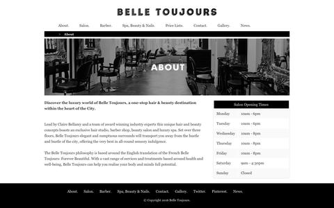 Screenshot of About Page belletoujours.co.uk - Belle Toujours - boutique, hair and beauty destination - captured Nov. 22, 2016