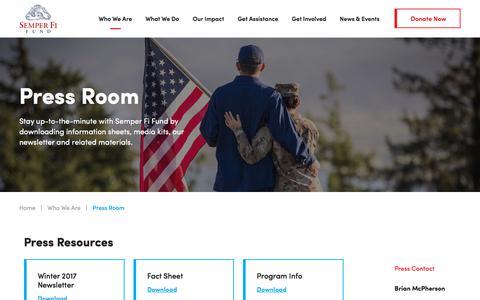 Screenshot of Press Page semperfifund.org - Press Room   Semper Fi Fund - captured Jan. 18, 2018
