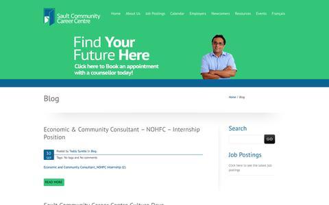 Screenshot of Blog saultcareercentre.ca - Blog | Sault Community Career Centre - captured Oct. 4, 2014
