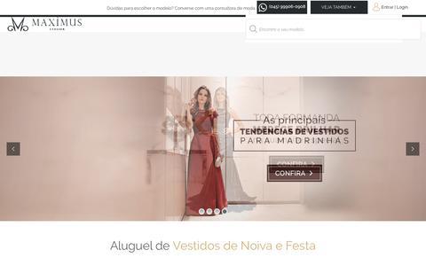 Screenshot of Home Page maximusatelier.com.br - Aluguel de Vestidos de Noiva | Locação Vestido Festa | Maximus Atelier - captured Sept. 20, 2018