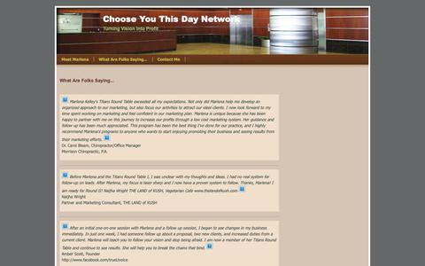 Screenshot of Testimonials Page webs.com - What Are Folks Saying... - Choose You This Day Network - captured Nov. 4, 2018