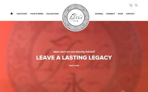 Screenshot of Home Page thelifechest.com - Leave a Lasting Legacy | The Life Chest - captured Oct. 8, 2014