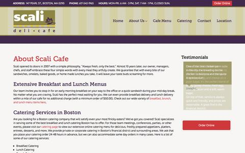 Screenshot of About Page scalicafe.com - Scali Cafe - About Scali Cafe, Breakfast, Lunch, Catering, Cafe Boston financial distrit - captured Nov. 19, 2016