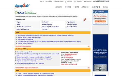 Screenshot of FAQ Page cheapoair.com - CheapOair - CheapOair.com  Frequently Asked Questions - captured Sept. 19, 2014