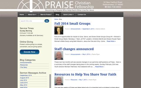 Screenshot of Blog praisepcf.org - Blog | Praise Christian Fellowship - captured Oct. 3, 2014