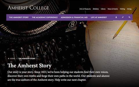 Screenshot of About Page amherst.edu - The Amherst Story | Amherst College - captured March 20, 2016