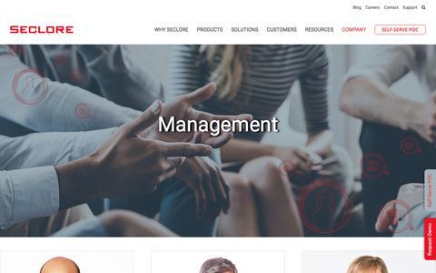 Screenshot of Team Page seclore.com - Management - Seclore - captured Sept. 12, 2018