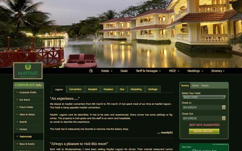Screenshot of Testimonials Page mayfairhotels.com - Testimonials - MAYFAIR Hotels & Resorts - captured Sept. 24, 2014