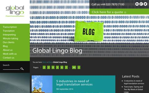 Screenshot of Blog global-lingo.com - Global Lingo Language Blog | Page 1 - captured Sept. 23, 2014