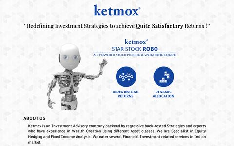 Screenshot of Home Page ketmox.com - Ketmox - Redefining Investment Strategies - Investment Advisor and Research Analyst - captured Oct. 10, 2018