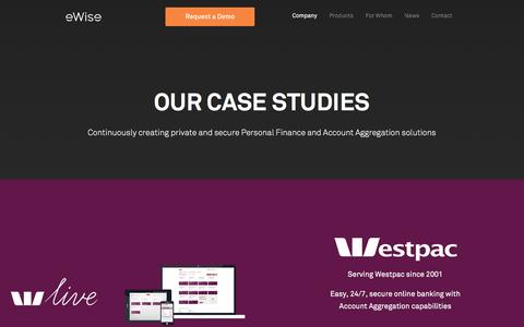 Screenshot of Case Studies Page ewise.com - Customers Case Studies - captured March 19, 2016
