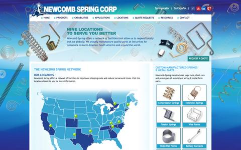 Screenshot of Locations Page newcombspring.com - Stamping, Form + Flat Spring Production | Newcomb Spring Locations - captured Oct. 1, 2014