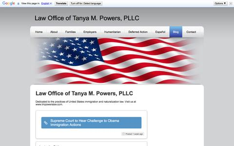 Screenshot of Blog tmpowerslaw.com - Law Offices of Tanya M. Powers, PLLC Immigration Lawyer Charlotte NC - captured Jan. 26, 2016