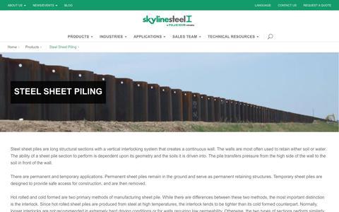 Screenshot of Products Page skylinesteel.com - Steel Sheet Piling | skylinesteel.com - captured June 14, 2017