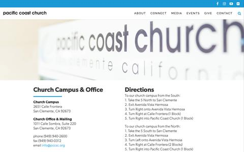 Screenshot of Contact Page pacificcoastchurch.org - Contact - Pacific Coast Church in San Clemente - captured Nov. 4, 2018