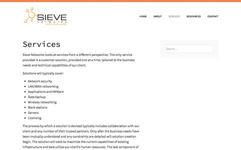 Screenshot of Services Page sievenetworks.com - Services – Sieve Networks - captured Sept. 20, 2018