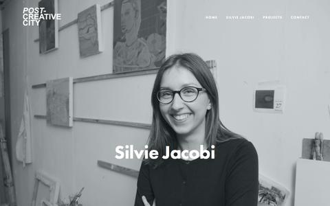 Screenshot of About Page post-creativecity.com - Silvie Jacobi — Post-Creative City: Applied Research and Cultural Practice - captured July 15, 2016