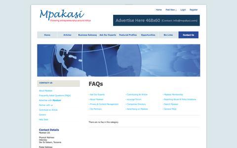 Screenshot of FAQ Page mpakasi.com - Faqs » Contact us - captured Oct. 9, 2014