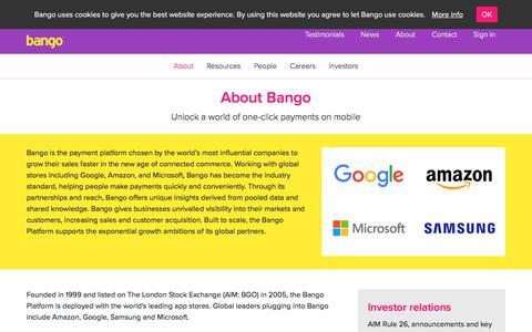 Screenshot of About Page bango.com - About Bango   Bango - captured May 23, 2018
