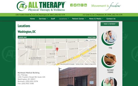 Screenshot of Locations Page alltherapy.net - Locations | ALL Therapy - captured Oct. 4, 2014