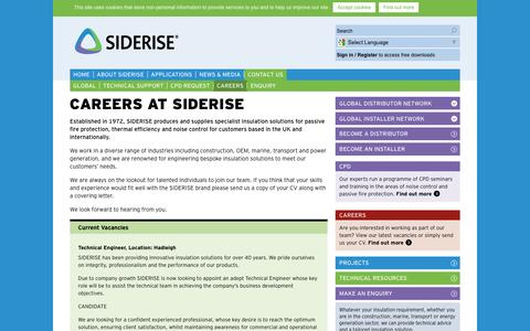 Screenshot of Jobs Page siderise.com - Careers | Contact Siderise - captured Feb. 22, 2016