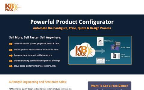Screenshot of Landing Page kbmax.com - Product Configurator Software | KBMax - captured June 12, 2016