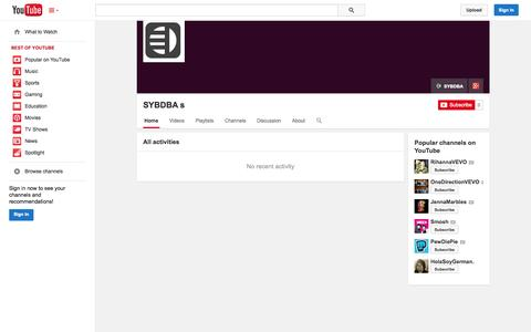 Screenshot of YouTube Page youtube.com - SYBDBA s  - YouTube - captured Oct. 29, 2014