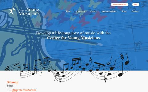 Screenshot of Site Map Page youngmusicians.org captured Dec. 14, 2018