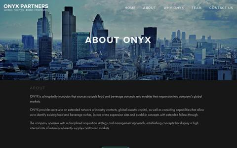 Screenshot of About Page onyxlondon.com - About — ONYX Partners - captured Oct. 26, 2014